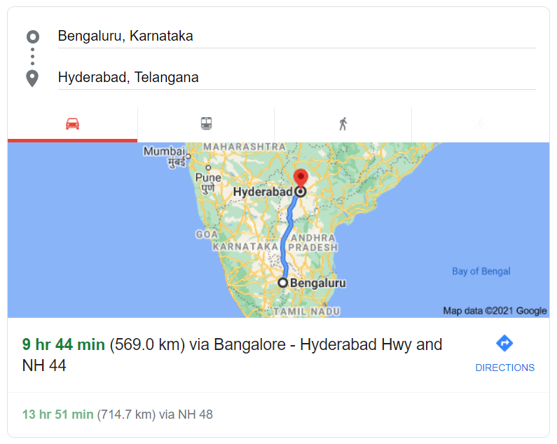 Bangalore to Hyderabad distance